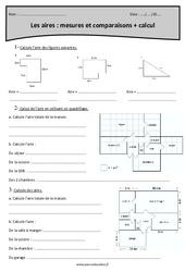 Mesures, comparaisons et calcul - Cm2 - Exercices sur les aires