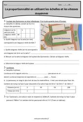 Echelles – Vitesses moyennes – Cm2 – Exercices sur la proportionnalité