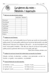Masculin et féminin - Genre du nom - Ce1 - Exercices avec correction