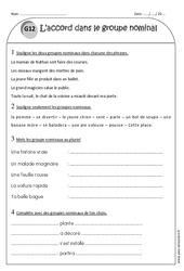 Accord dans le groupe nominal - Ce1 - Exercices à imprimer