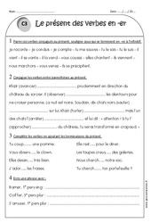 Verbes en -er - Présent - Ce1 - Exercices corrigés