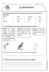 Dictionnaire – Ce1 – Exercices à imprimer