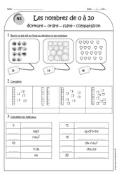 Nombres de 0 à 20 – Ce1 – Exercices sur écriture – ordre – suite et comparaison