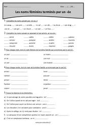 Noms féminins terminés par [ée] – Cm2 – Exercices à imprimer