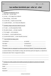 Verbes terminés par -eler er -eter - Cm2 - Exercices à imprimer