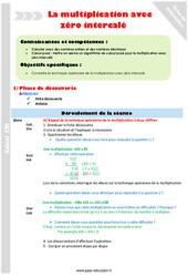 Multiplication avec zéro intercalé – CM2 – Fiche de préparation