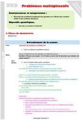 Problèmes multiplicatifs - CM2 - Fiche de préparation