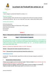 Présent de l'indicatif des verbes en -er – Cm1 – Fiche de préparation