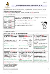 Présent de l'indicatif des verbes en -er – Cm1 – Leçon