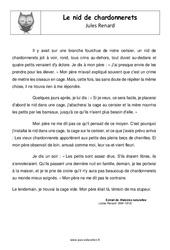 Nid de chardonnerets de Jules Renard – Cm2 – Récit – Lecture
