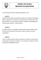 Questions de ponctuation - Cm2 - Atelier de lecture