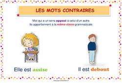 Mots contraires - Cycle 2 - Affiche de classe
