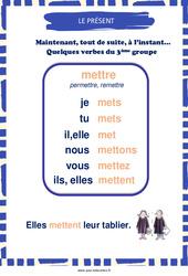 Présent du verbe «mettre» – Cycle 3 – Affiche de classe