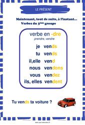 Présent des verbes en -dre – Cycle 2 – Affiche de classe