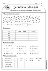 Nombres de 0 à 69 - Ce1 - Exercices: Décomposition - Groupement échange - Dénombrement