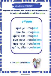 Subjonctif présent des verbes du 2e groupe - Cycle 3 - Affiche de classe