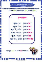 Subjonctif présent des verbes du 3e groupe - Cycle 3 - Affiche de classe