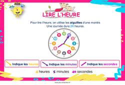 Lire l'heure - Cycle 2 - Affiche de classe