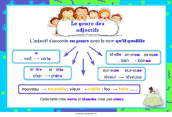 Genre des adjectifs – Cycle 3 – Affiche de classe