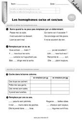 Homophones «ce», «se» et «ces», «ses» – Ce2 – Evaluation – Bilan