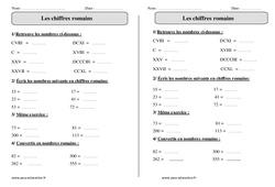 Chiffres romains – Ce2 - Exercices à imprimer
