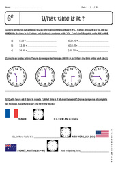 What time is it, please ? – Heure et Minute – 6ème – Exercices à imprimer