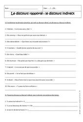 Discours rapporté – Discours indirect – 4ème – Exercices corrigés