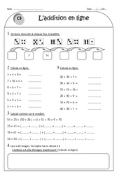 Addition en ligne – Ce1 – Exercices corrigés