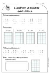 Addition en colonne avec retenue – Ce1 – Exercices à imprimer