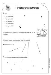 Droites et segments - Ce1 - Exercices corrigés