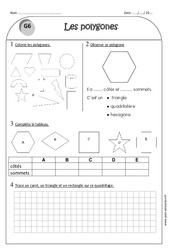 Carré, triangle et rectangle - Ce1 - Exercices sur les Côtés et sommets du polygone