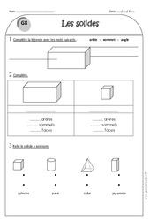 Cylindre - Pavé - Cube - Pyramide - Ce1 - Exercices sur les solides