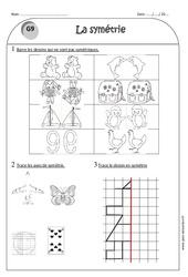 Symétrie - Ce1 - Exercices corrigés