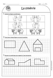Axe de symétrie – Ce1 – Exercices sur les figures symétriques