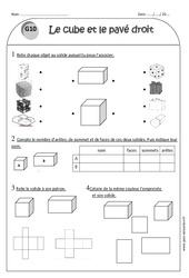 Cube - Pavé droit - Ce1 - Exercices corrigés sur les solides
