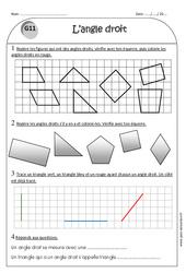 Angle droit - Equerre - Ce1 - Exercices à imprimer
