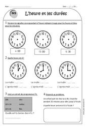 Heure et durée – Ce1 – Exercices à imprimer