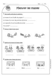 Masse g, kg – Ce1 – Exercices de mesure