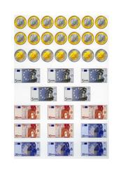 Pièces et billets en euros – Planche à découper – Ce1