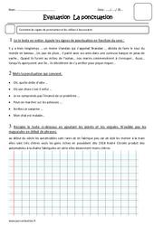 Ponctuation – Cm1 – Evaluation –  Virgules et points, exclamation, interrogation