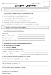 Pronoms – Cm1 – Evaluation – Pronom personnel sujet ou complément