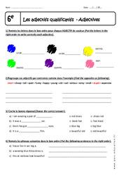 Adjectifs qualificatifs – Adjectives – 6ème – Exercices corrigés