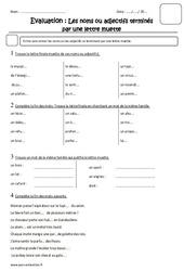 Noms terminés par une lettre muette – Cm1 – Evaluation