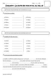 Pluriel des noms en eu, au, eau, ail – Cm1 – Evaluation