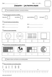 Fractions simples - Cm1 - Evaluation