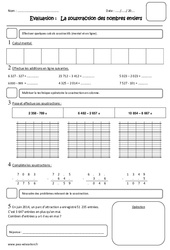Soustraction des nombres entiers – Cm1 – Evaluation