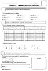 Addition des nombres décimaux – Cm1 – Evaluation
