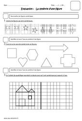 Symétrie d'une figure – Cm1 – Evaluation