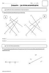 Droites perpendiculaires – Cm1 – Evaluation