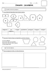 Polygones – Cm1 – Evaluation – Carré, rectangle, losange, trapèze, parallélogramme, pentagone, hexagone